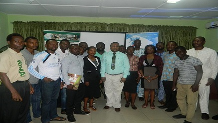 Dr. Oyewole Oyedokun, president, Records and Information Management Awareness (RIMA), Foundation flanked by participants at RIMA Foundation quarterly training held in Lagos…recently.