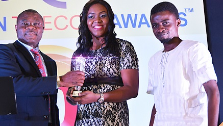(R-l)  Deji Balogun, Chief Technology Officer, Terragon Group; Mrs. Anurika Azubuike, Head, Marketing and Corporate Communications, Terragon Group; while receiving an Award for Terragon Group as 'Digital Advertising Company of the Year' from Dr. Mike Onyia, Commissioner, Nigerian Communications Commission (Left); during the 10th Nigerian Telecom Awards held in Lagos.