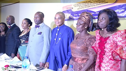 (L-r): Misan Kofi-Senaya, CEO, Datamax Registrars Ltd, Siyanbola Oladapo, president of Anco, pst. (Mrs) Joy Umo, Dr. Mike Umo, general manager, Bulkpost Venture (BPV) and the host, Dr. Simon Emeje, senior assistant postmaster general and head of Courier Regulatory Department (CRD), (Mrs) Oyebodejo Lola, immediate past president, ICMR and Mrs. Molokwu Uche, head, Lagos Zonal Office of the Securities and Exchange Commission (SEC) during Bulkpost Venture's Customers Forum and Dinner Night held in Lagos rece