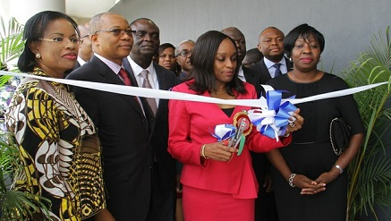 (L-r): Olusola Oworu, commissioner, Commerce & Industry, Lagos State, Fola Adeola, chairman, MainOne, Omobola Johnson, minister of Communications Technology and Funke Opeke, CEO, MainOne at the launch of MainOne's new Tier III Data Center, MDX-I in Lagos on Thursday.