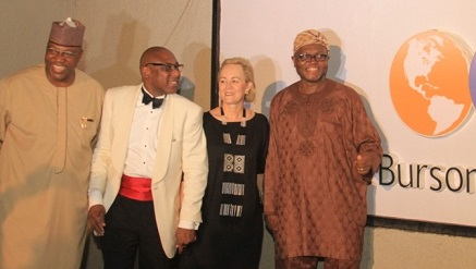 (L-r): John Momoh, chairman, Channels Incorporated and Special Guest of Honor, Yomi Badejo-Okusanya, CEO of CMC Connect Burson-Marsteller, Nigeria, Mrs. Robyn de Villiers, chairman/CEO Burson-Marsteller, Africa, and Akin Opeodu, board chairman, CMC Connect Limited, at the unveiling of the new brand identity of CMC Connect Burson-Marsteller, at the Bridge House, corporate headquarters of CMC Connect in GRA, Ikeja, Lagos.