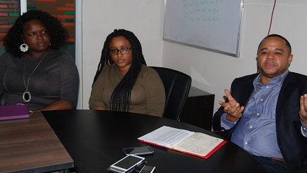 (L-r): Laide Olabode, marketing manager, Betty Anthony, campaign manager, and Sam Onyemelukwe, managing director EMC - Trace, during an interactive session with media in Lagos during the week.