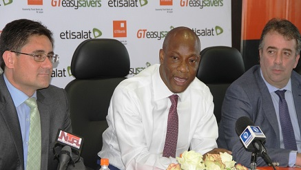 "From Left:  Matthew Willsher, Chief Executive Officer, Etisalat Nigeria,; Segun Agbaje Managing Director, Guaranty Trust Bank GTB ; and Angelone Francesco Chief Marketing Officer, Etisalat Nigeria, at the launch of ""GTEasySavers""  powered by Etisalat and GTBank which held at Guarantee Trust Bank Headquarters"
