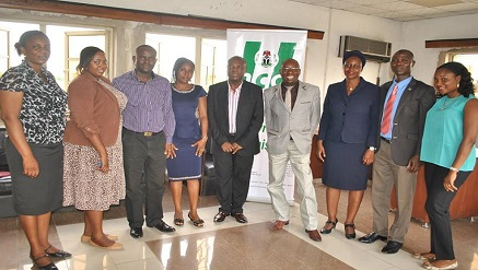 LASBRAB team in a picture photograph with Zonal Director of Nigerian Copyright Commission (NCC), in Lagos.