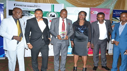 Nnaemeka Udenwagu, MD/CEO, STP Information Services Limited, flanked by other team members after received ICT Innovator award presented by Chris Uwaje, ex-president of ISPON, at BoICT Awards 2015