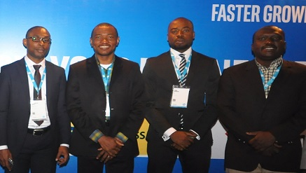 L-R: Basics Retail Banking Diamond Bank Plc;, Mr. Chiemezie Ohaji,  Consumer Channels Group Director HP; Mr. Mark Ihimoyan, Account Manager HP;Mr. Paul Ofulue;  and Enterprise Solutions and Services BDM, Intel Corporation, Mr. Femi Babajide,  during the 2015 Technology tour to encourage Small and Medium Businesses (SMBs) in Nigeria at Oriental Hotel, Lekki, Lago
