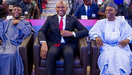 l-r: Vice President, Prof. Yemi Osinbajo, Founder, Tony Elumelu Foundation Mr. Tony Elumelu and Kaduna State Governor, Mallam Nasir El-Rufai at the $100 Million Tony Elumelu Entrepreneurship Programme (TEEP) boot camp for 1000 entrepreneurs from 51 countries across Africa, Ota, Ogun State, on Saturday