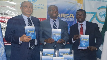L-r: Founder, Centre for Values and Leadership, Prof Pat Utomi; Chief, Trade and Poverty Branch, UNCTAD Switzerland, Dr Patrick Osakwe and the Officer-in-Charge of United Nations Information Centre (UNIC) Lagos, Mr Oluseyi Sotremekun.