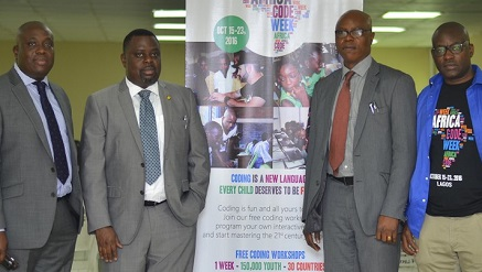 (L-r): Olu Familusi, head, Business Operations, West Africa at SAP; Femi Odubiyi, commissioner, Lagos State Ministry of Science and Technology; ‎Permanent Secretary, Lagos State Ministry of Science and Technology‎ and Olajide Ademola Ajayi, Nigeria's Coordinator of Africa Code Week, at Africa Code Week 2016 held at Lagos State Digital Village, Alausa, recently.