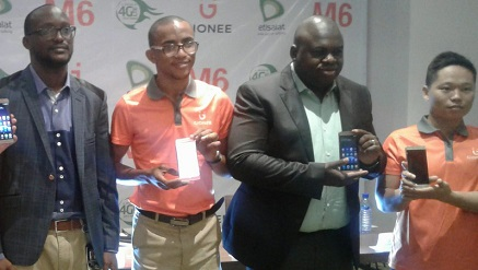 (L-r): Clement Nwankwo, manager, Device and Terminals, Etisalat Nigeria; Somoye Habeeb, marketing director (Gionee Nigeria); Idowu Adesokan, head, High Value and Mass Market segment, Etisalat Nigeria, and Chen Bin, marketing director (Gionee Chinese), during the launch of Gionee M6 in Lagos on Wednesday