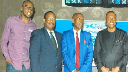 L-r: Fred Chukwuemeka Agbata; Titus Olowokere, MD, Applications Services Division, IPNX; Mr. Chris Uwaje, DG, Delta State Innovation Hub; and Greg Nnaji, Enugu State Commissioner for Science and Technology; at the recent Telecom Development Summit (TECHDEV) held in Enugu