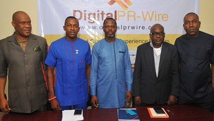 (L-r): Chuddy Oduenyi‎, MD, Compact Communications; Ifeanyi Aniagoh, Senior Special Adviser to Gov. Willie Obiano on Social Media; Celestine Achi, founder/CEO, Cihan Group; Muyiwa Akintunde, vice president, PRCAN and Ikem‎ Okuhu, Lead Director, Reliks Media Ltd., at the media launch of DigitalPRWire on Tuesday, in Lagos.