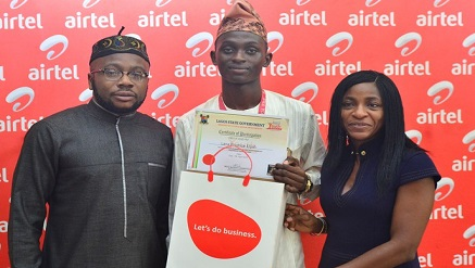 (L-r): Adedamola Richard Kasumu; chairman, Lagos State House of Assembly Committee on Youth & Social Development, Lana Promise Elijah, new Lagos State Youth Ambassador, and Tawa Bolarin, director of Enterprise Business, Airtel Nigeria, at the Lagos State IBILE leadership training organised in collaboration with Airtel Nigeria in Lagos,