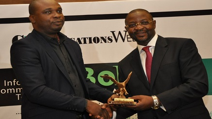 (L-r): Olufemi Oluwole, head, Marketing and Communications, Red Star Express receiving 'Courier Personality Award' on behalf of the GMD of the Company and presented by Sunday Dare, commissioner, Stakeholders Management for Nigeria Communications Commission (NCC) at BoICT Awards 2017 held at Eko Hotel, Lagos.