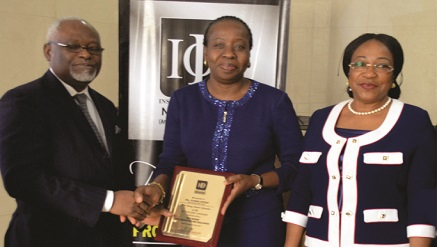 (L-r): Samuel Yemi ‎Akeju, ‎president/chairman of Council, IoD Nigeria‎; ‎Ms. Funke Opeke‎, CEO of MainOne and Ms. Bennedikter Molokwu,‎ chairman, IoD Fellows Committee, ‎at the 2017 Institute of Director Fellow  Luncheon which held recently.‎