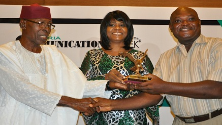 (L-r): Chris Uwaje, director general, Delta State ICT Hub; Mrs. Vivian Okeke, MD/CEO, Transroyal Courier Nigeria Limited and Abdullah Odior, general manager, Commercial at the Company which received 'Best Courier Company of the Year' at BoICT Award 2017 held at Eko Hotel, recently.