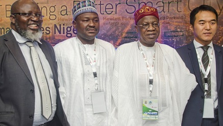 (L-r): Barrister Adebayo Shittu, minister of Communication; Senator Isah Hamma Musa;  Lai Mohammed, minister of Information and Culture and the Tank Li, managing director of Huawei Technologies Nigeria Limited during the Smart Cities Summit Nigeria in Abuja, during the week.