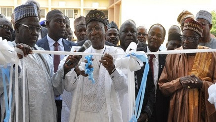 l-r:  Prof. Muhammad Yahuza Vice Chancellor, Bayero University, Kano (BUK); Alhaji Lai Mohammed, Minister of Information and Culture; and Prof. Jibril Aminu, former minister of Petroleum, while commissioning the Faculty of Mass Communication building at BUK in Kano.