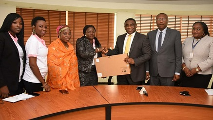(R-l): Tony Ojobo, director, Public Affairs NCC made the presentation on behalf of the EVC, to NWIIT as received by Dr. Florence Babalola, national president, flanked by officials of both NCC and NWIIT.