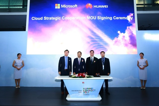 Huawei and Microsoft representatives at the event.